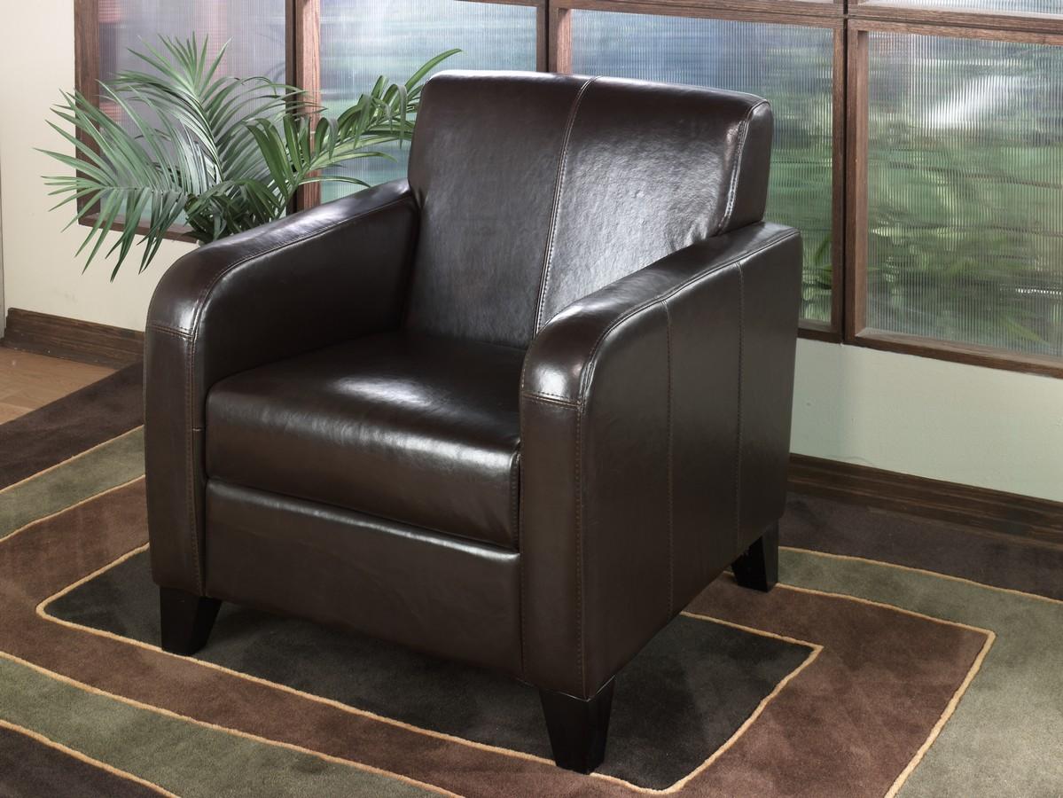 Armen Living 1400 Black Leather Club Chair