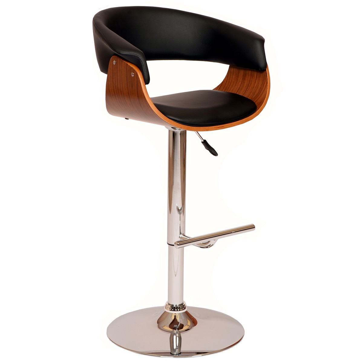 Armen Living Paris Swivel Barstool In Black Leatherette/ Walnut Veneer and Chrome Base