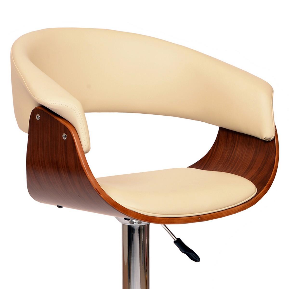 Armen Living Paris Swivel Barstool In Cream Leatherette/ Walnut Veneer and Chrome Base