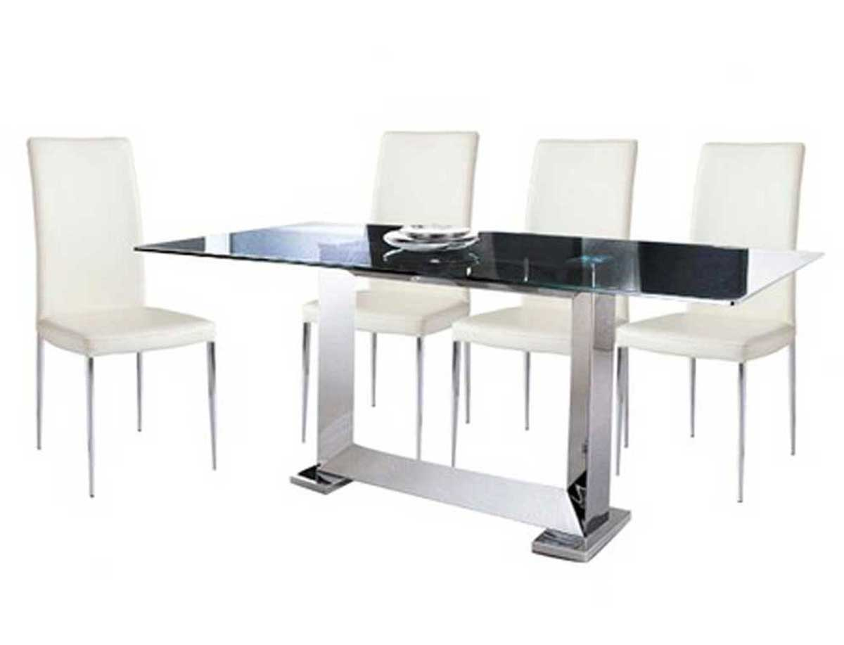 Armen Living Posto Stainless Steel Dining Set