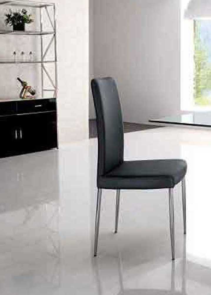 Armen Living Posto Side Chair - Black Leatherette