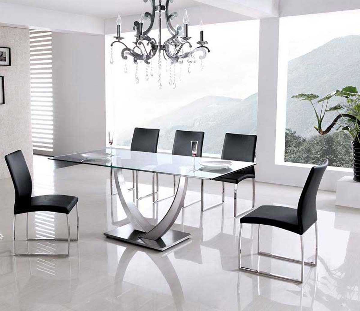Armen Living Primo Stainless Steel Dining Set