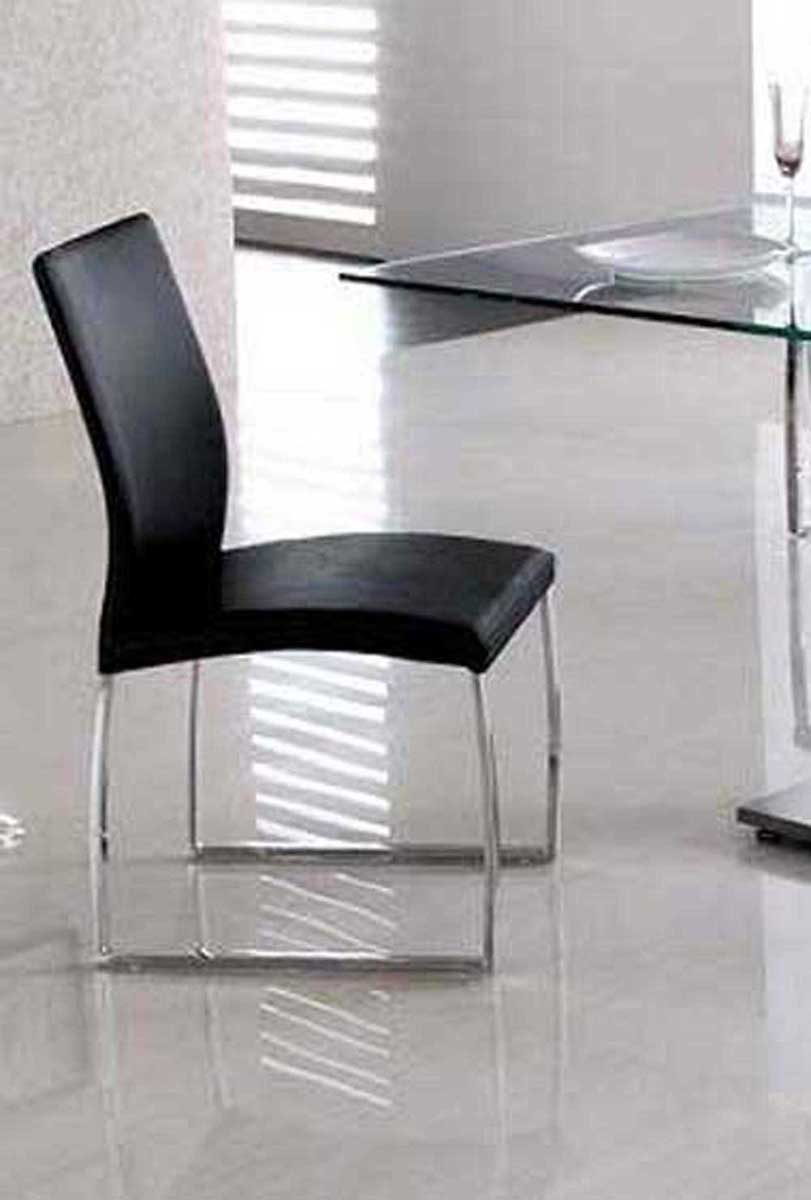 Armen Living Primo Side Chair - Black Leatherette