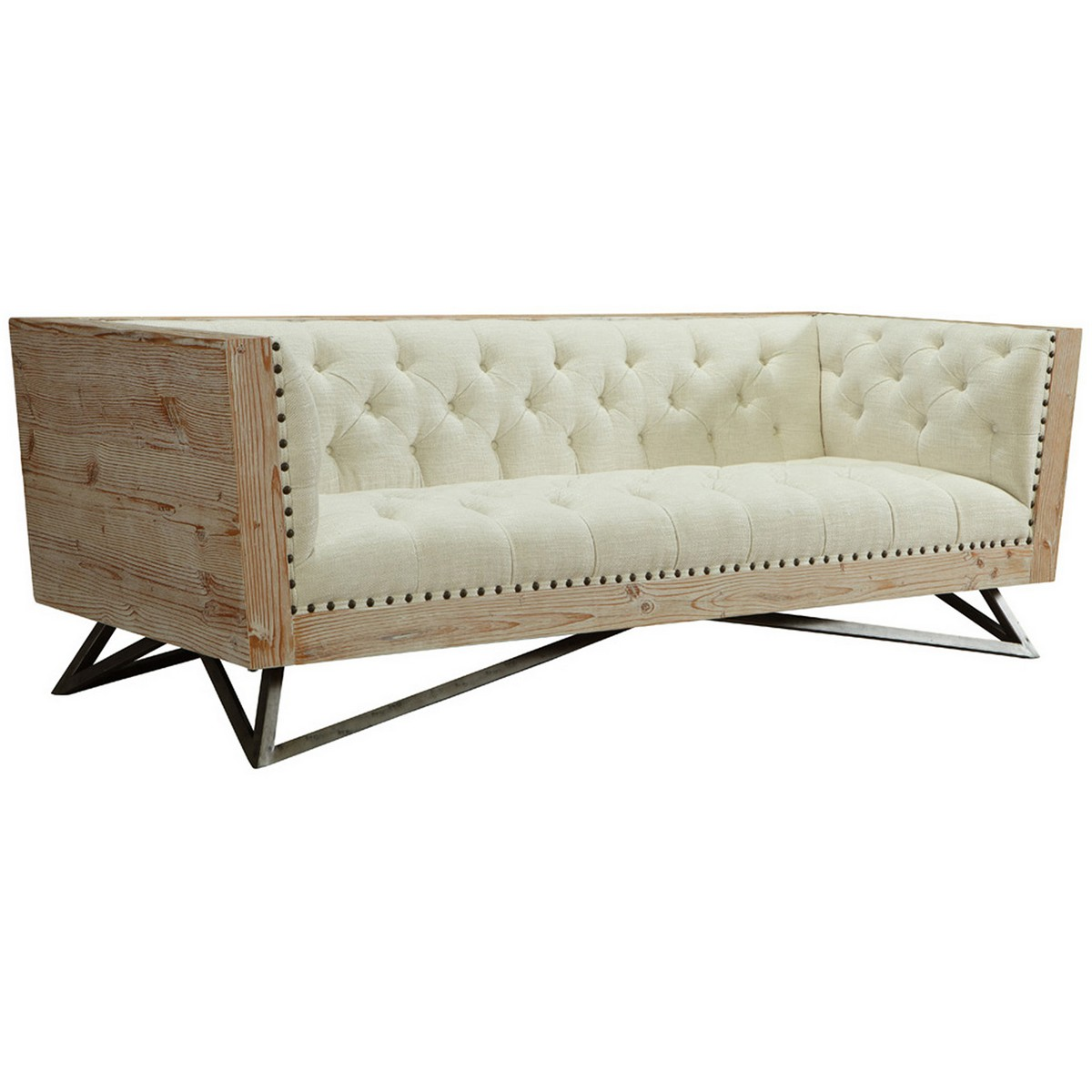 Armen Living Regis Cream Sofa With Pine Frame And Gunmetal Legs