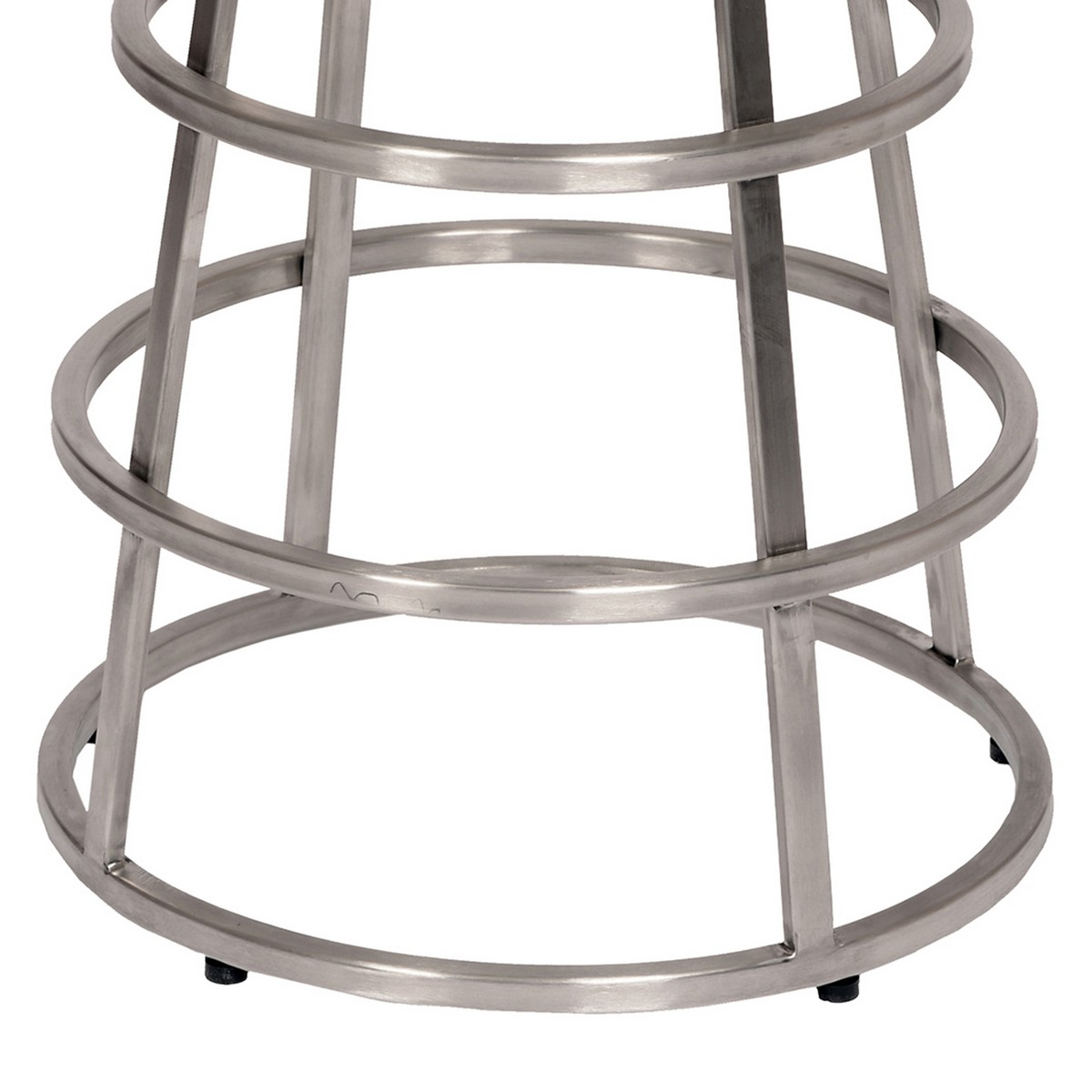 Armen Living Ringo 26-inch Backless Brushed Stainless Steel Barstool in Gray Leatherette