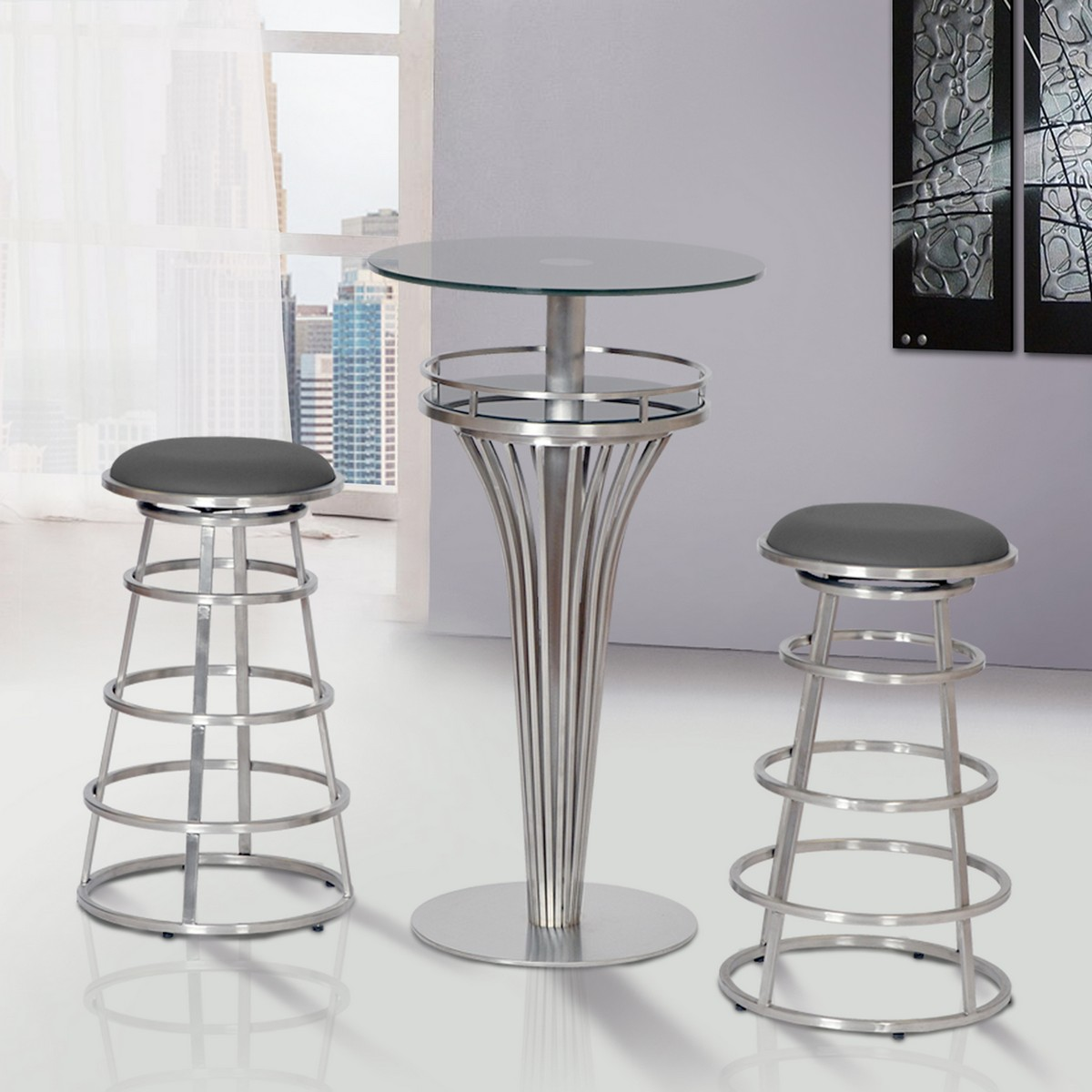 Armen Living Ringo 30-inch Backless Brushed Stainless Steel Barstool in Gray Leatherette