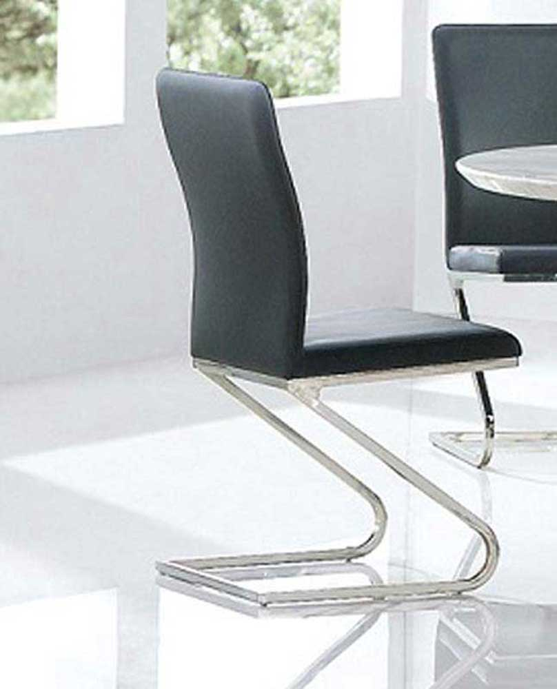 Armen Living Rondo Side Chair - Black Leatherette