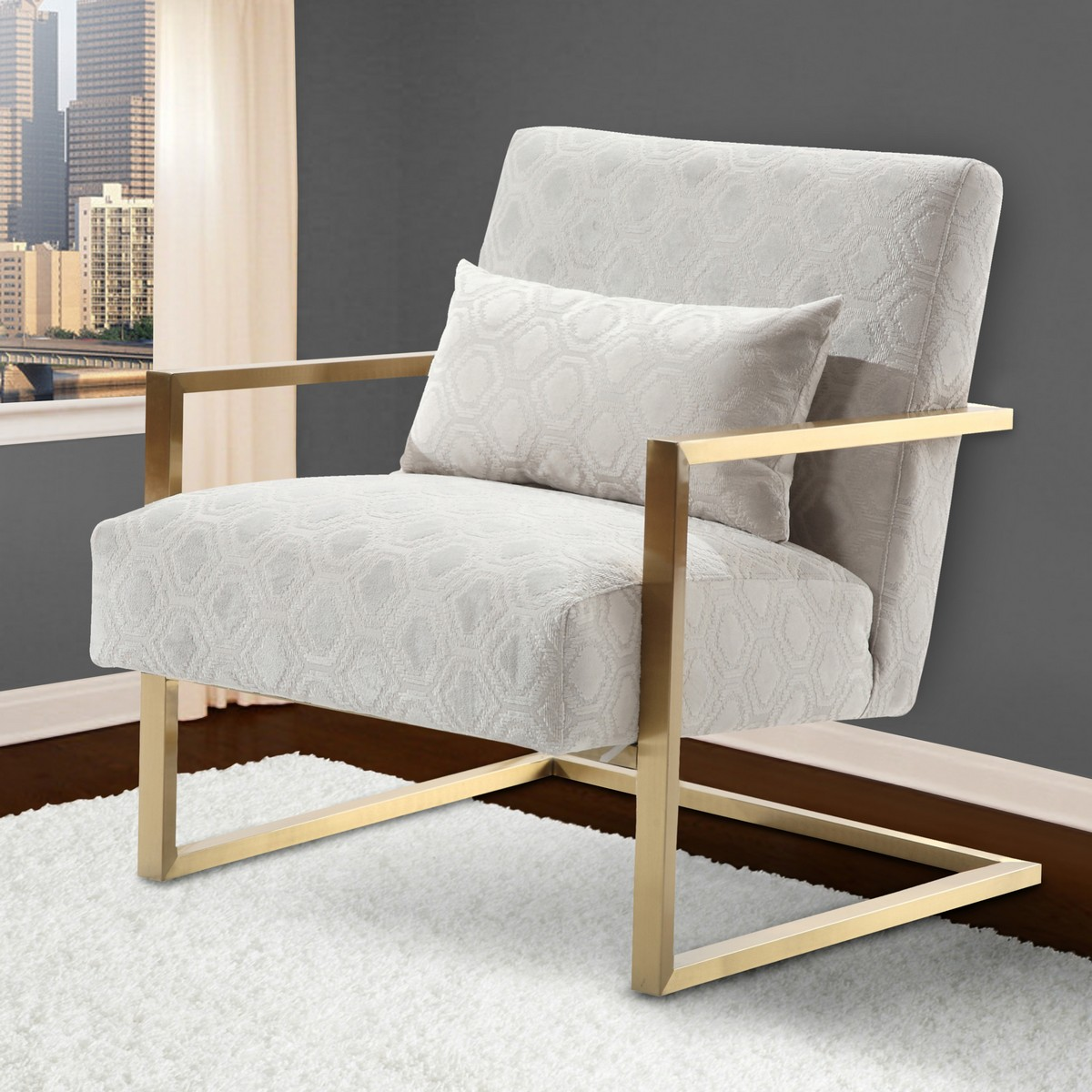 Etonnant Armen Living Skyline Modern Accent Chair In Cream Chenille And Gold Metal