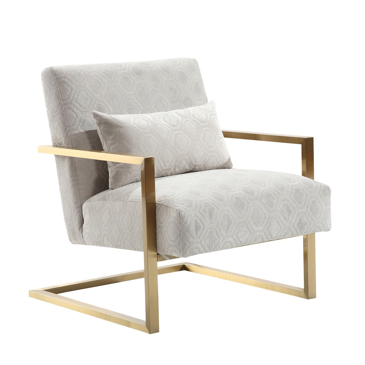 Armen Living Skyline Modern Accent Chair In Cream Chenille and Gold Metal