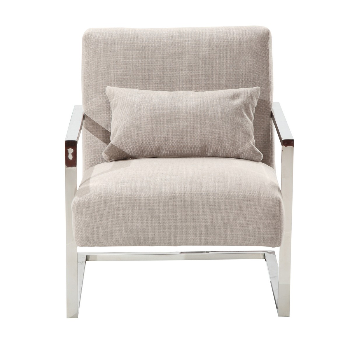 Armen Living Skyline Modern Accent Chair In Gray Linen and Steel