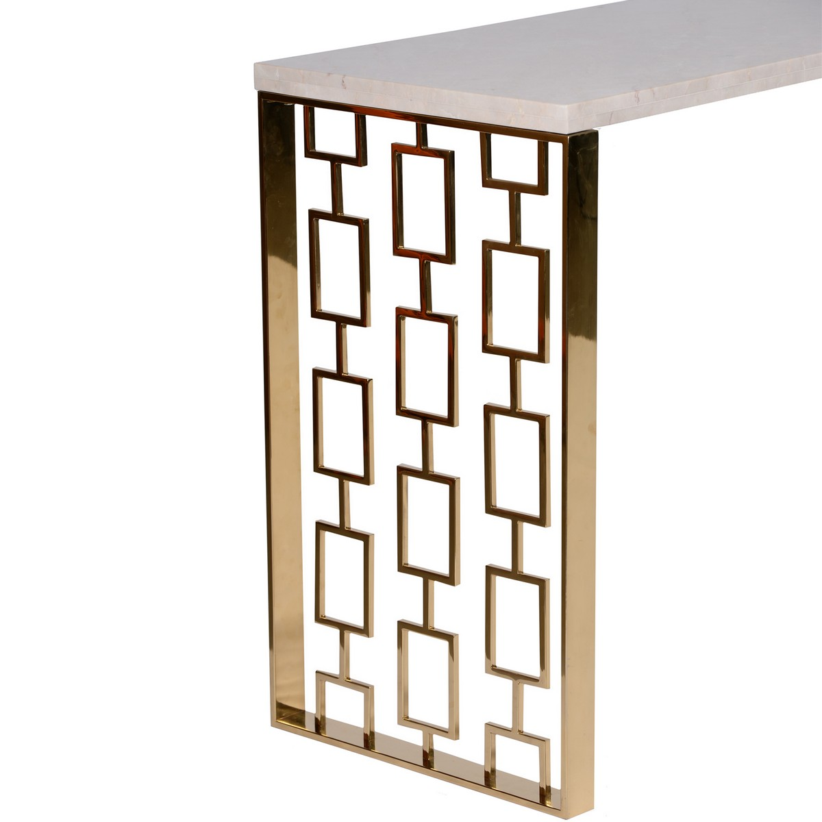 Armen Living Skyline Console Table With White Top - Gold Metal Base