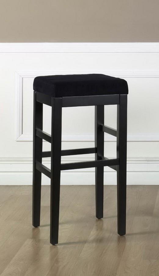 Armen Living Sonata 26-inch Stationary Barstool - Black Micro Fiber - Black Legs