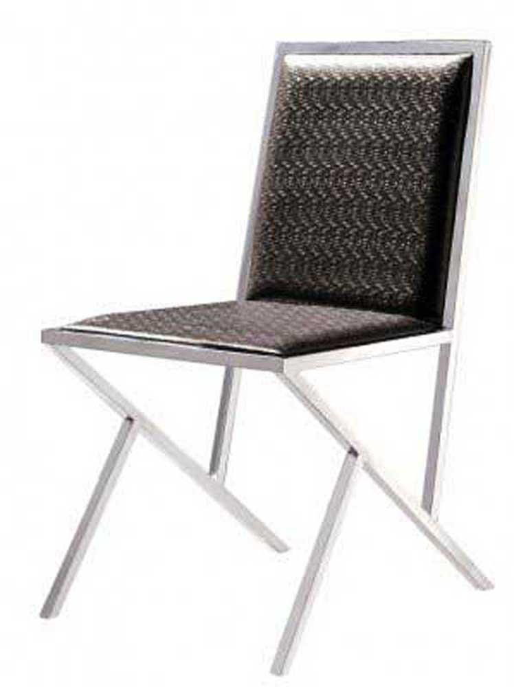 Armen Living Stracco Side Chair - Chocoloate Leatherette
