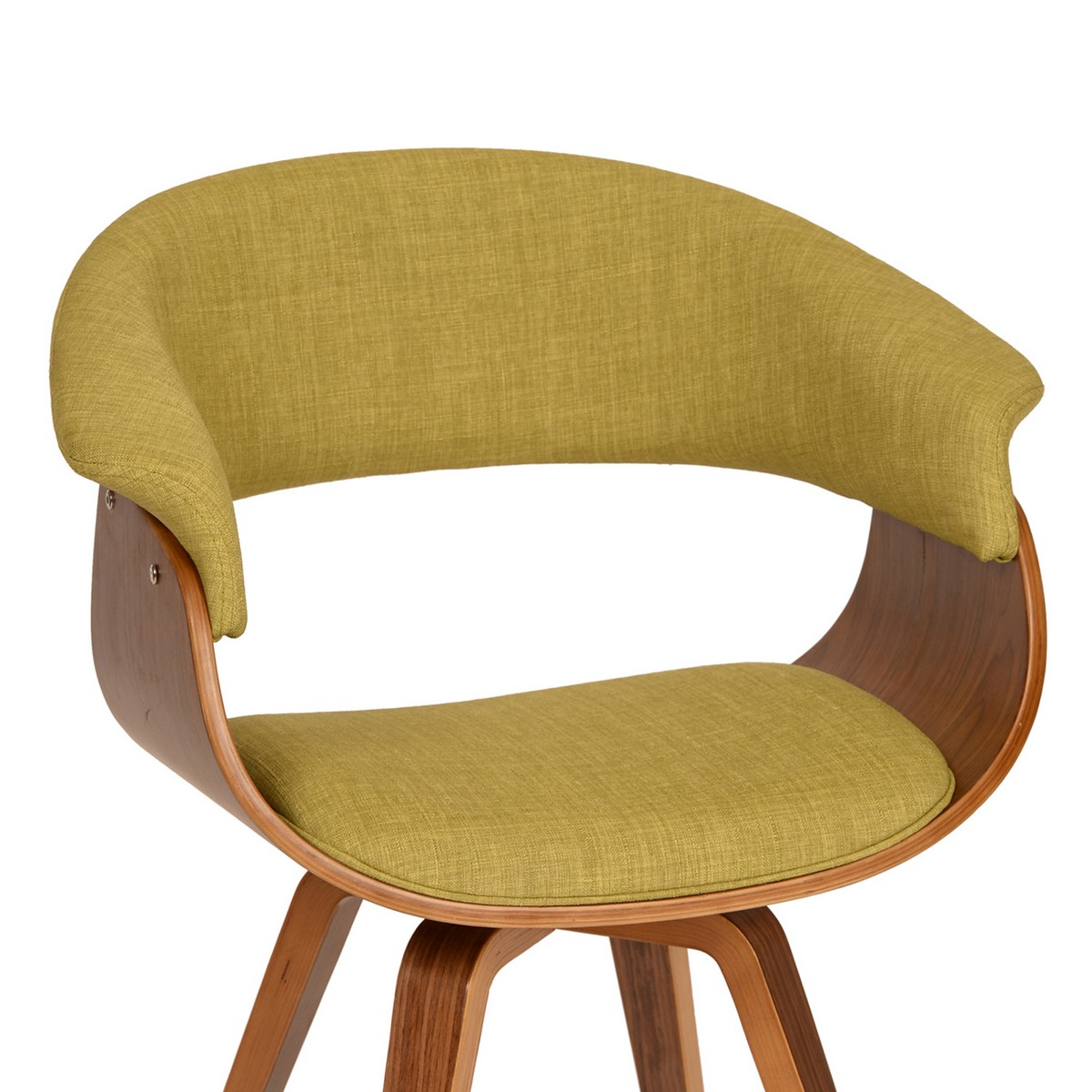 Armen Living Summer Modern Chair In Green Fabric and Walnut Wood