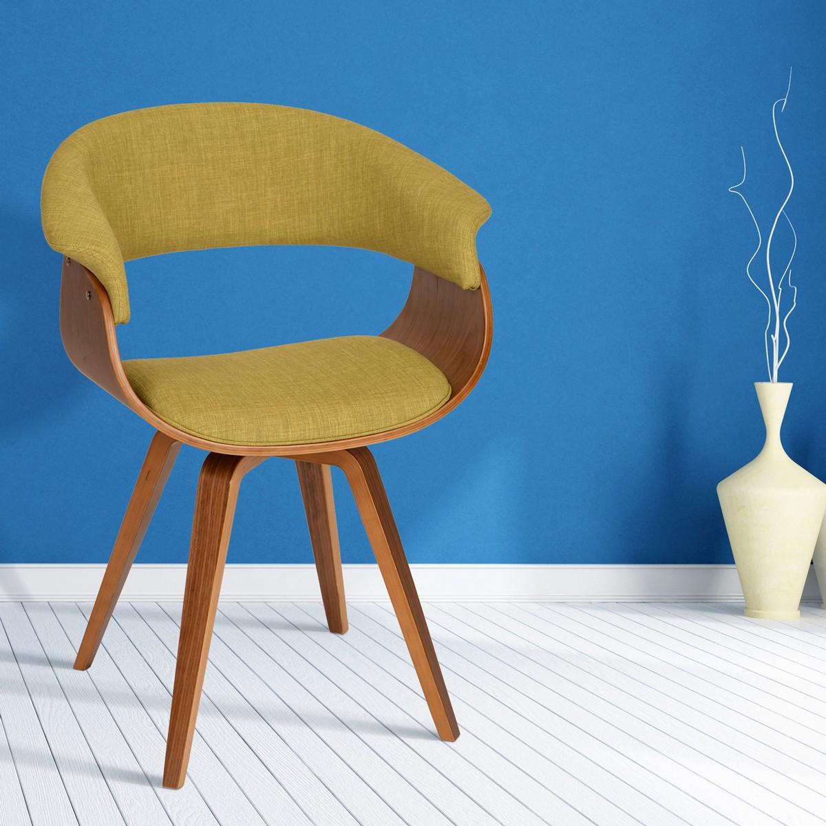 Armen Living Summer Modern Chair In Green Fabric and Walnut Wood