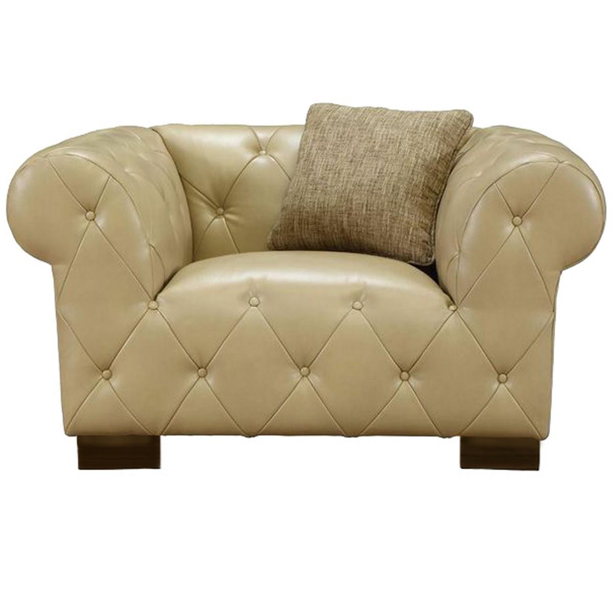 Armen Living Tuxedo Beige Chair In Bonded Leather