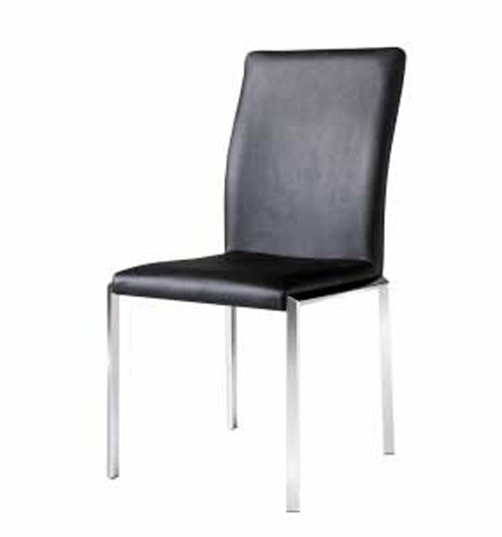 Armen Living Vengo Side Chair - Black Leatherette