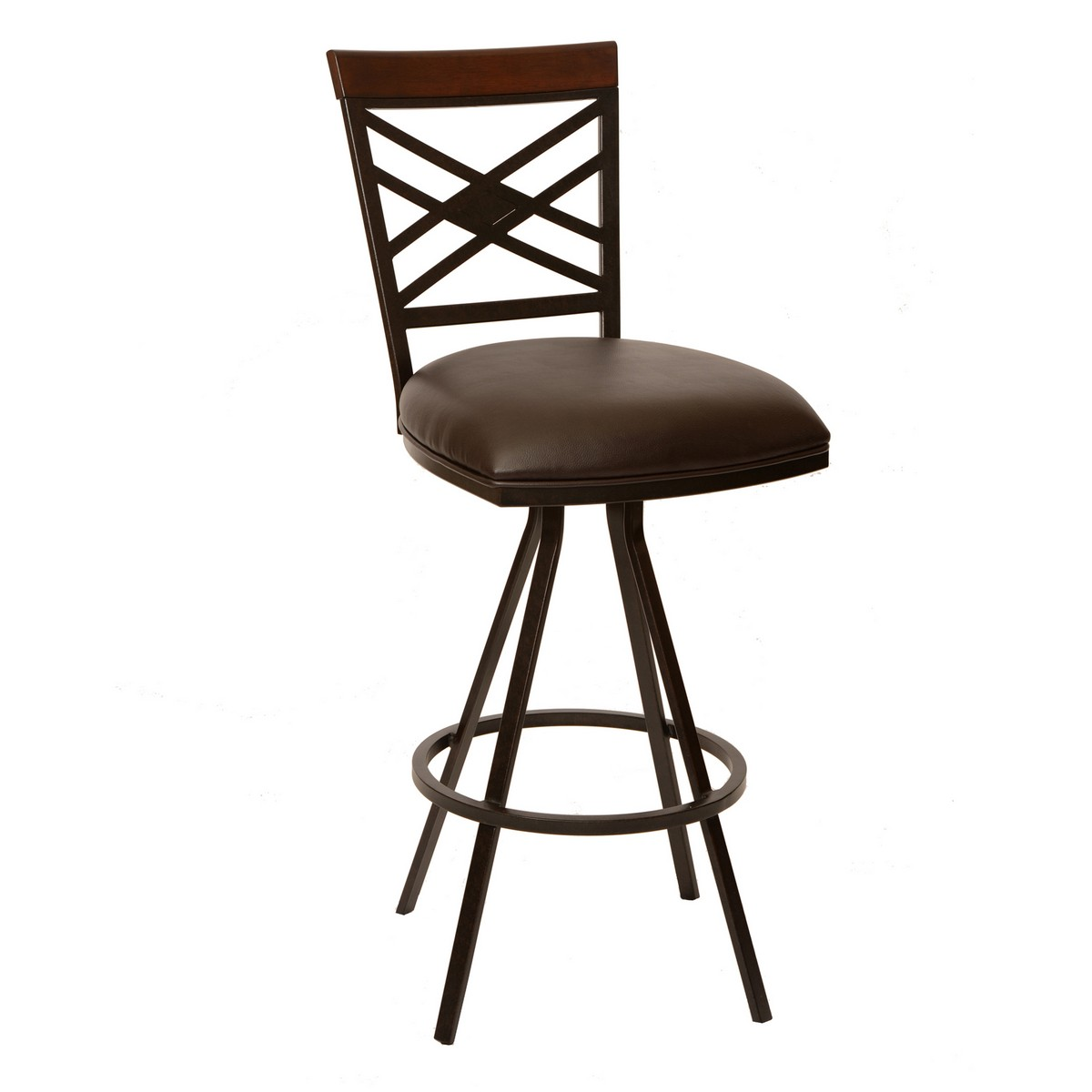 Armen Living Zoe 26-inch Transitional Armless Barstool In Coffee and Auburn Bay Metal