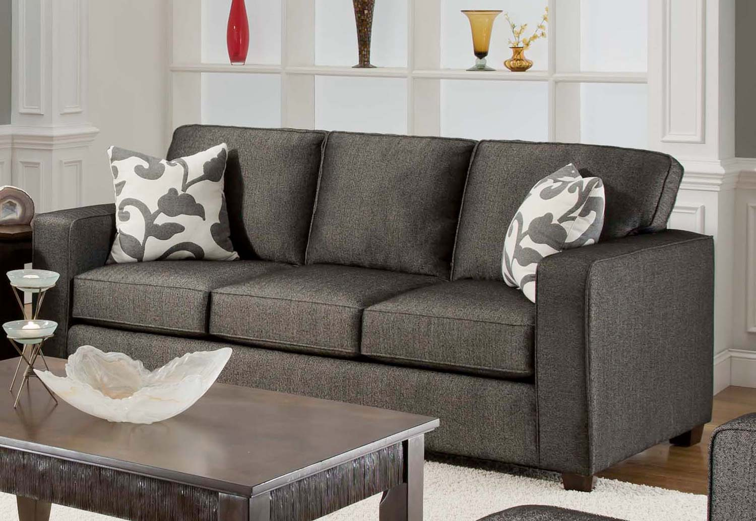 Armen Living Calvin Sofa Set - Talbot Onyx Fabric
