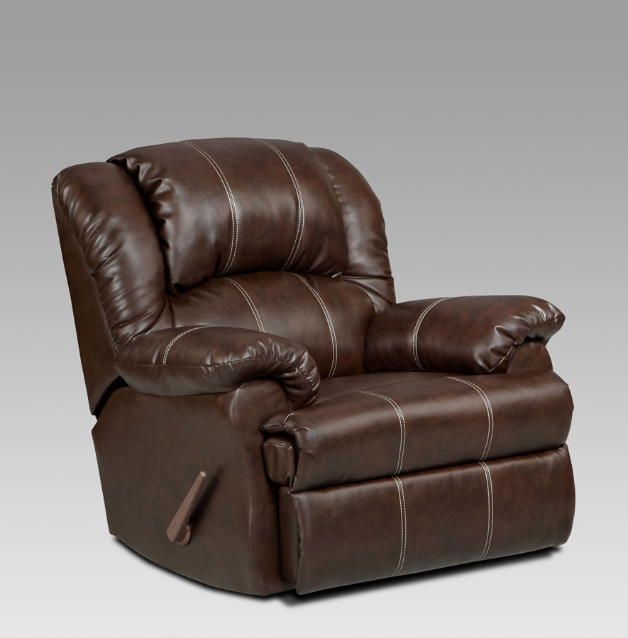 Apollo recliner bonded leather brandon brown chaise rocker for Bonded leather chaise