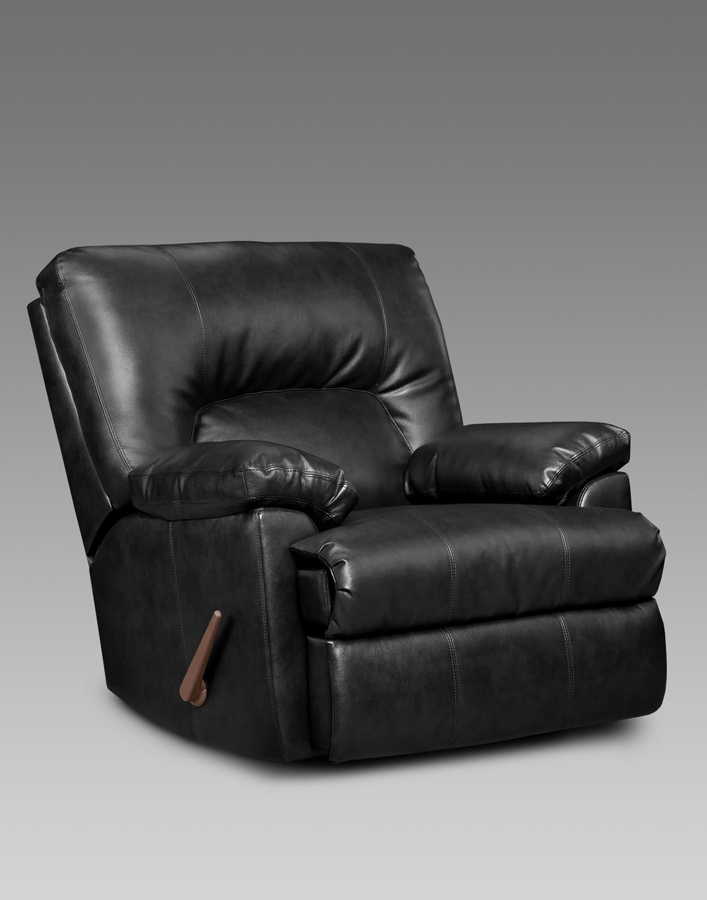 Apollo recliner firenza black bonded leather chaise rocker for Chaise x rocker