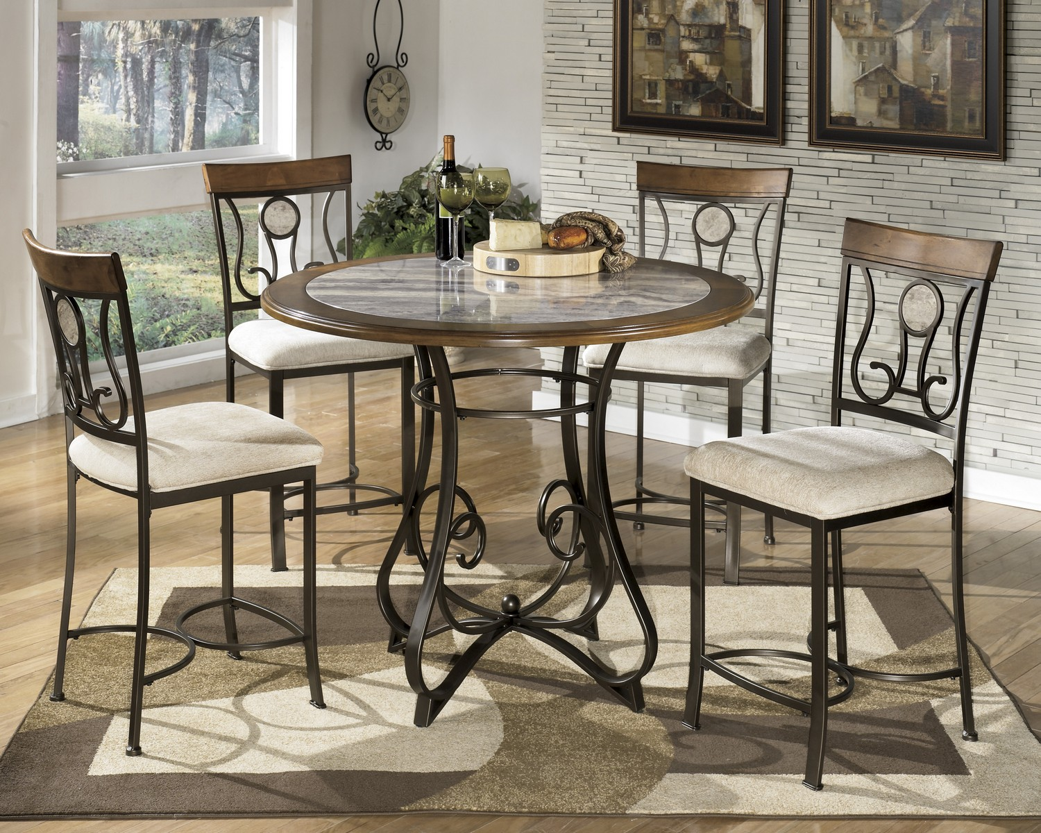 Ashley Hopstand Round Counter Height Dining Set