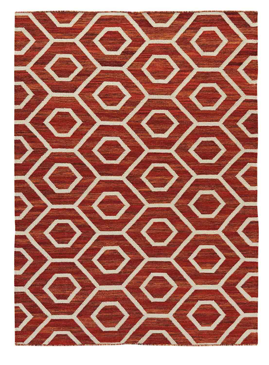 Ashley Flatweave Large Rug - Burnt Orange