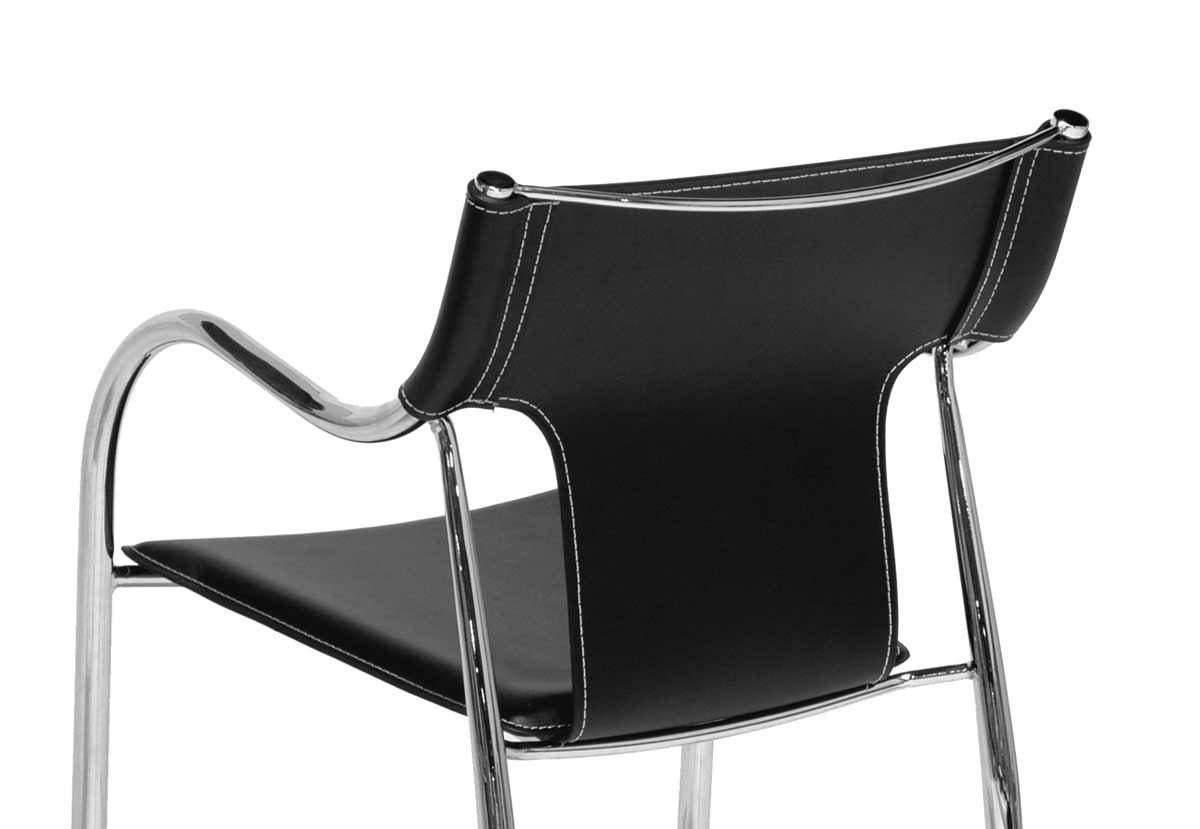 Cheap Alphaville Design Massimo Arm Chair-Black With white Stitch