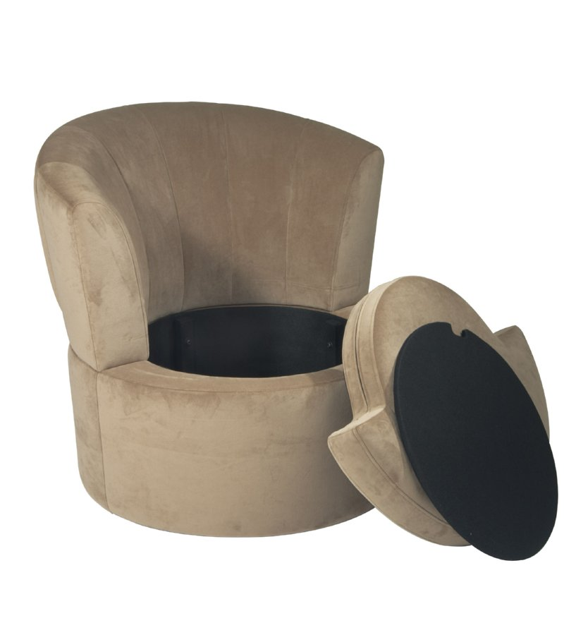Avenue Six Curves Barrel Chair - Coffee Velvet