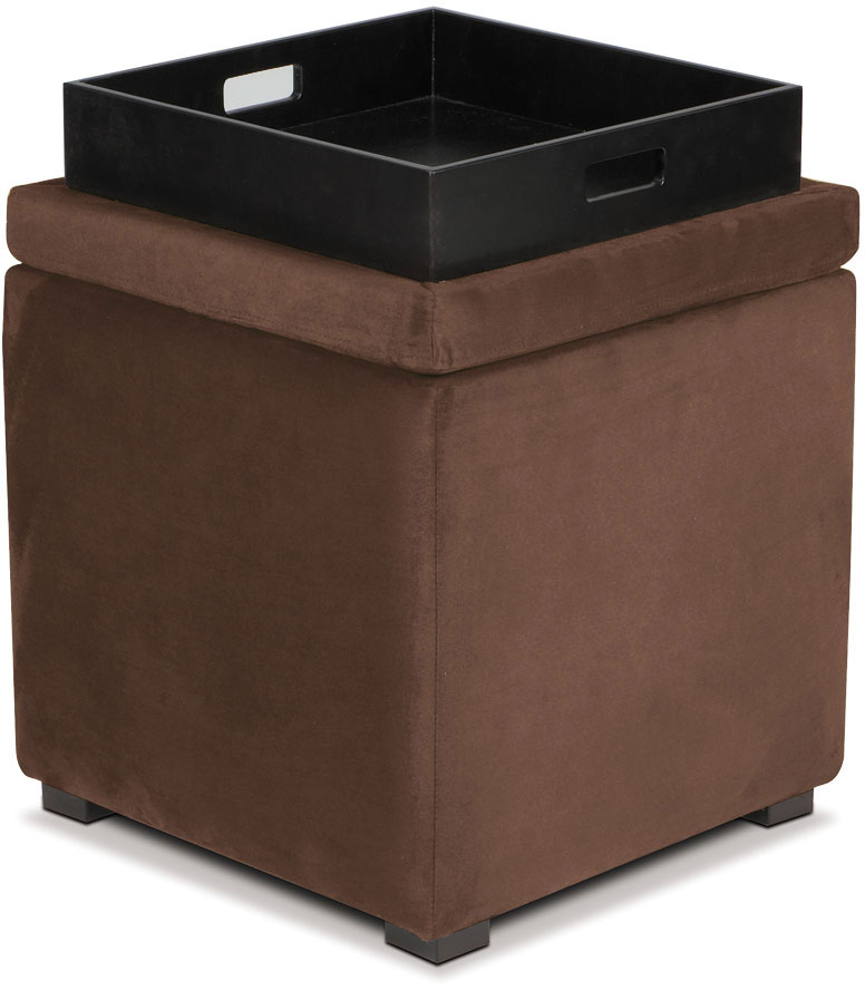 Cheap Avenue Six Detour Storage Cube Ottoman with Tray – Chocolate