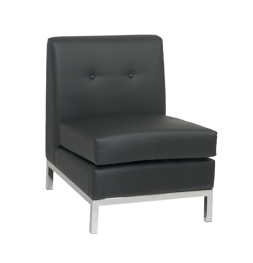 Avenue Six Wall Street Armless Chair - Black Vinyl