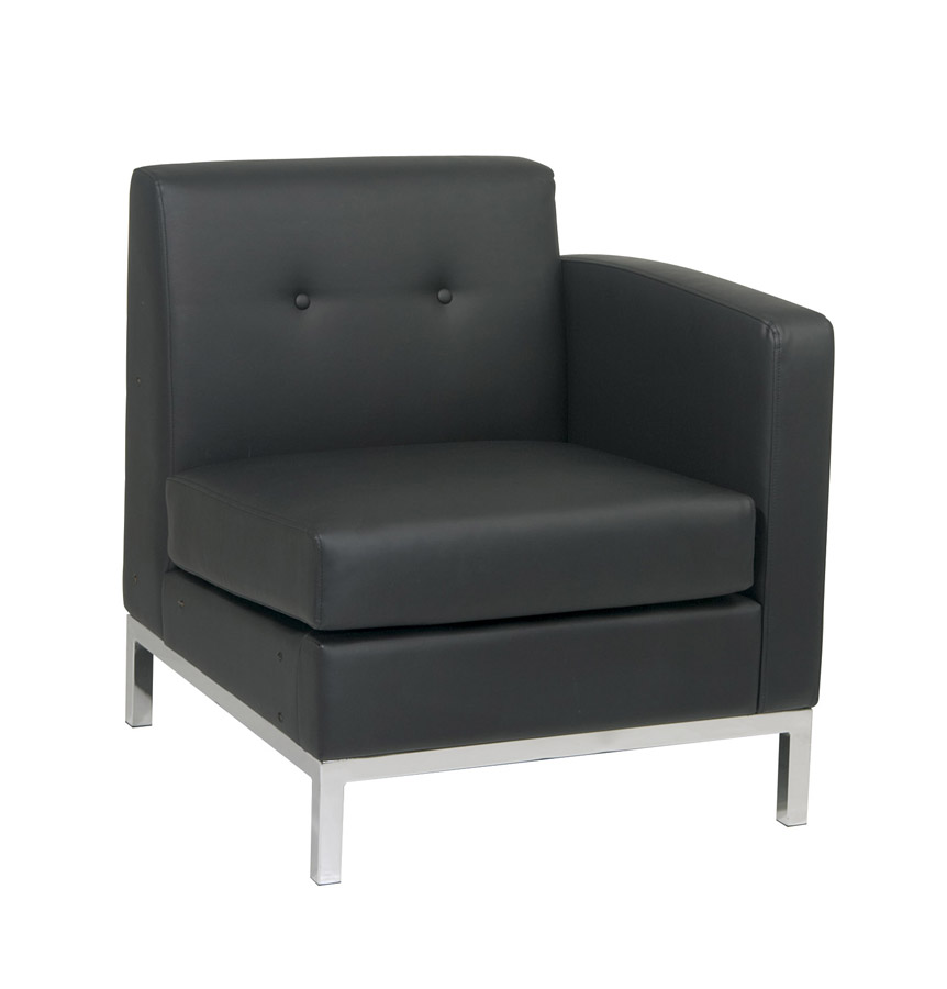 Avenue Six Wall Street Right Arm Chair - Black Vinyl