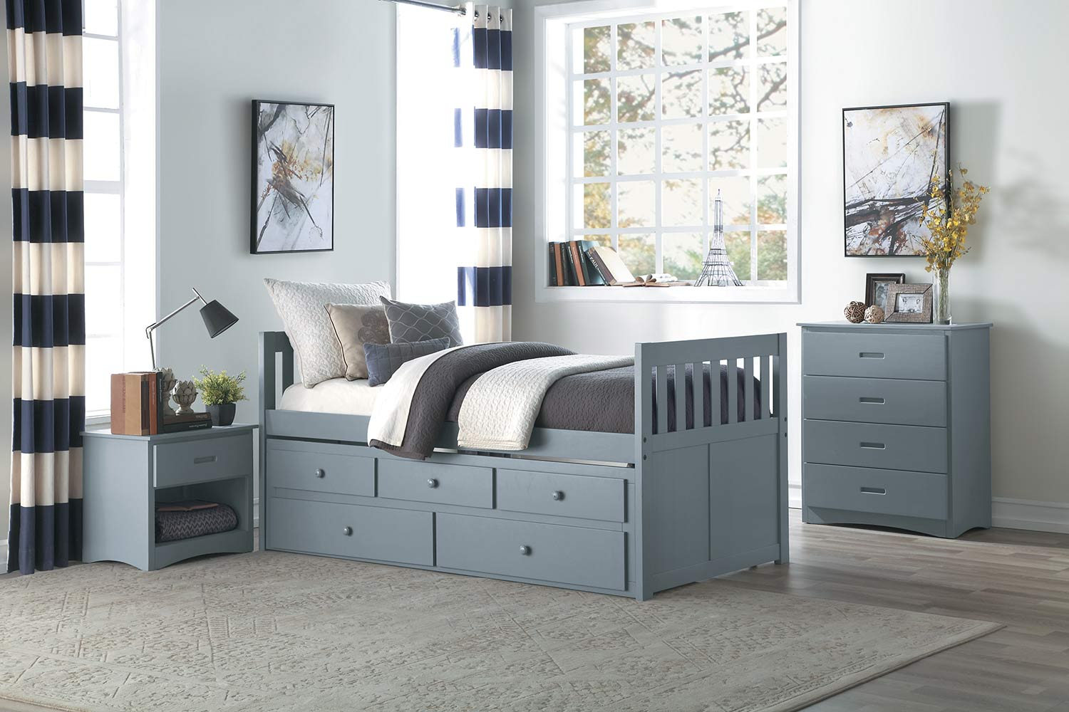Homelegance Orion Trundle Bedroom Set - Gray