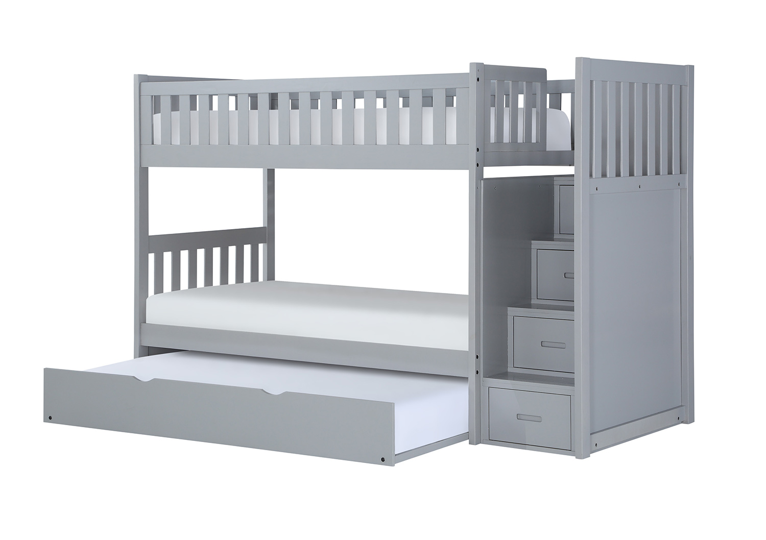 Homelegance Orion Twin over Twin Bunk Bed with Reversible Step Storage - Gray
