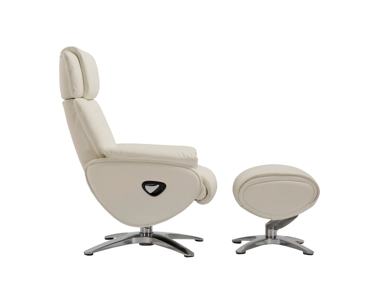 Barcalounger Emery Pedestal Recliner Chair with Adjustable Head Rest and Adjustable Ottoman - Capri White/leather match