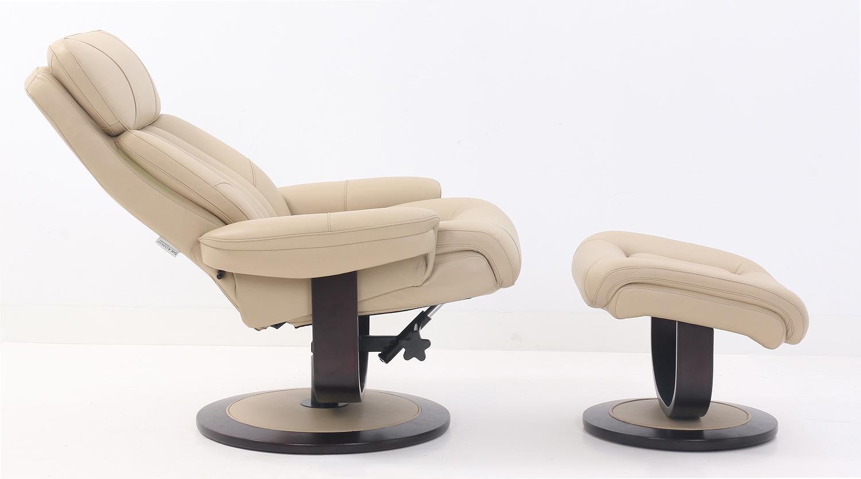 Barcalounger Oakleigh Pedestal Recliner Chair and Ottoman - Hilton Ivory/Leather match