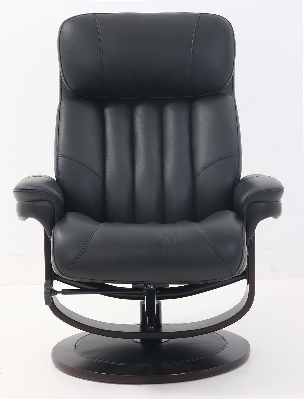 Barcalounger Oakleigh Pedestal Recliner Chair and Ottoman - Hilton Black/Leather match