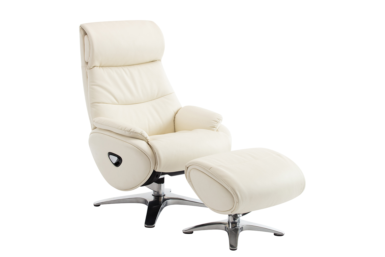Barcalounger Adler Pedestal Recliner Chair and Ottoman - Capri White/Leather match