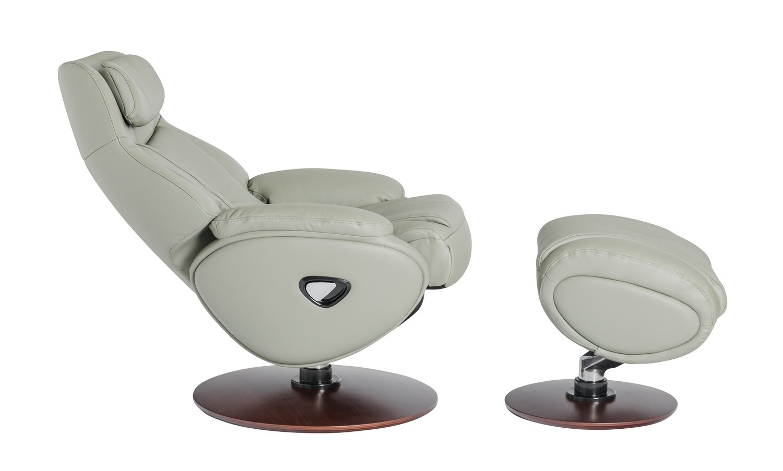 Barcalounger Marjon Pedestal Recliner Chair/Ottoman - Capri Gray/Leather Match