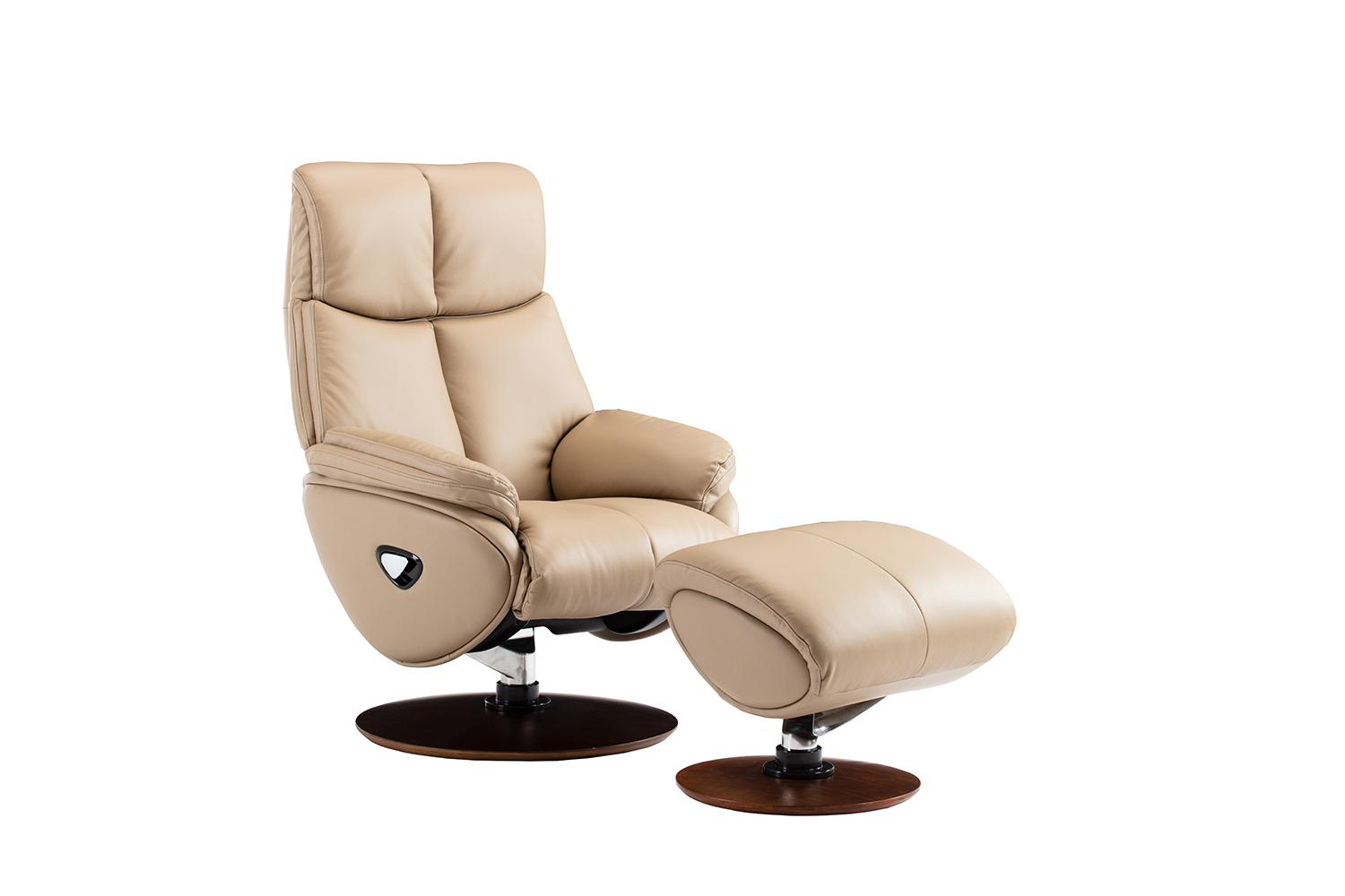 Barcalounger Alicia Pedestal Recliner Chair and Ottoman - Capri Nomad/Leather match