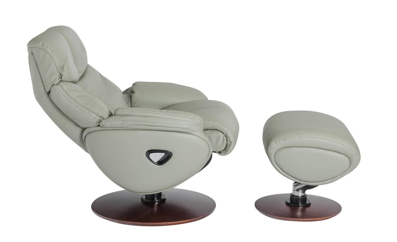 Barcalounger Alicia Pedestal Recliner Chair/Ottoman - Capri Gray/Leather Match