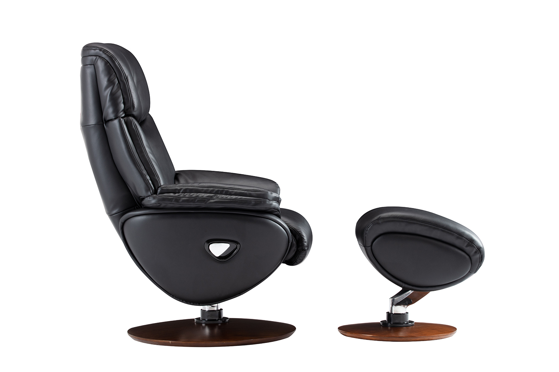 Barcalounger Alicia Pedestal Recliner Chair and Ottoman - Capri Black/Leather match