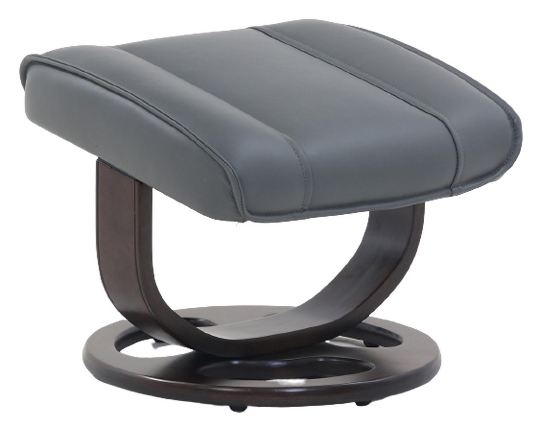 Barcalounger Austin Pedestal Recliner Chair/Ottoman - Marlene Gray/Leather Match