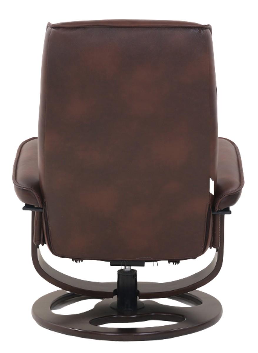 Barcalounger Austin Pedestal Recliner Chair/Ottoman - Hilton Whiskey/Leather Match