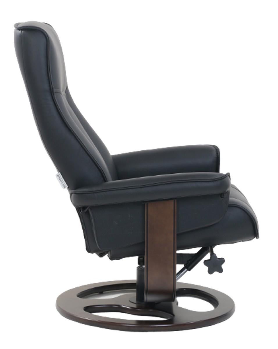 Barcalounger Austin Pedestal Recliner Chair/Ottoman - Hilton Black/Leather Match