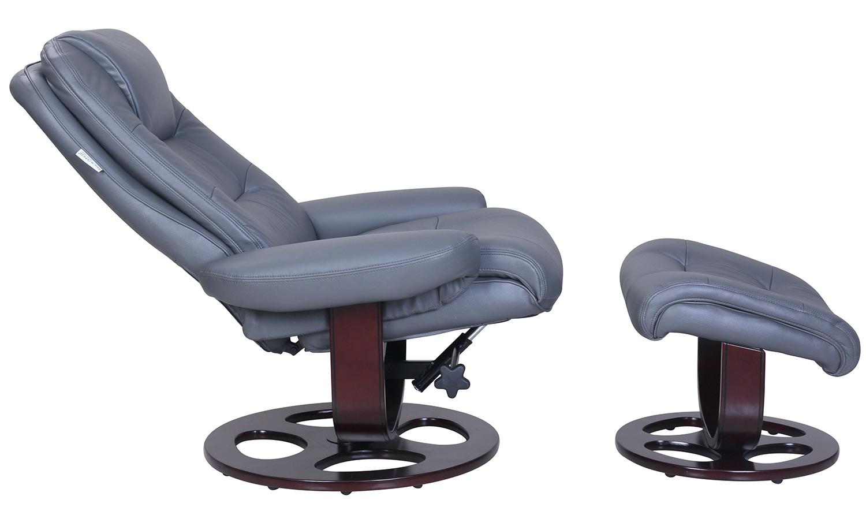 Barcalounger Jacque Pedestal Recliner Chair and Ottoman - Marlene Gray/Leather Match