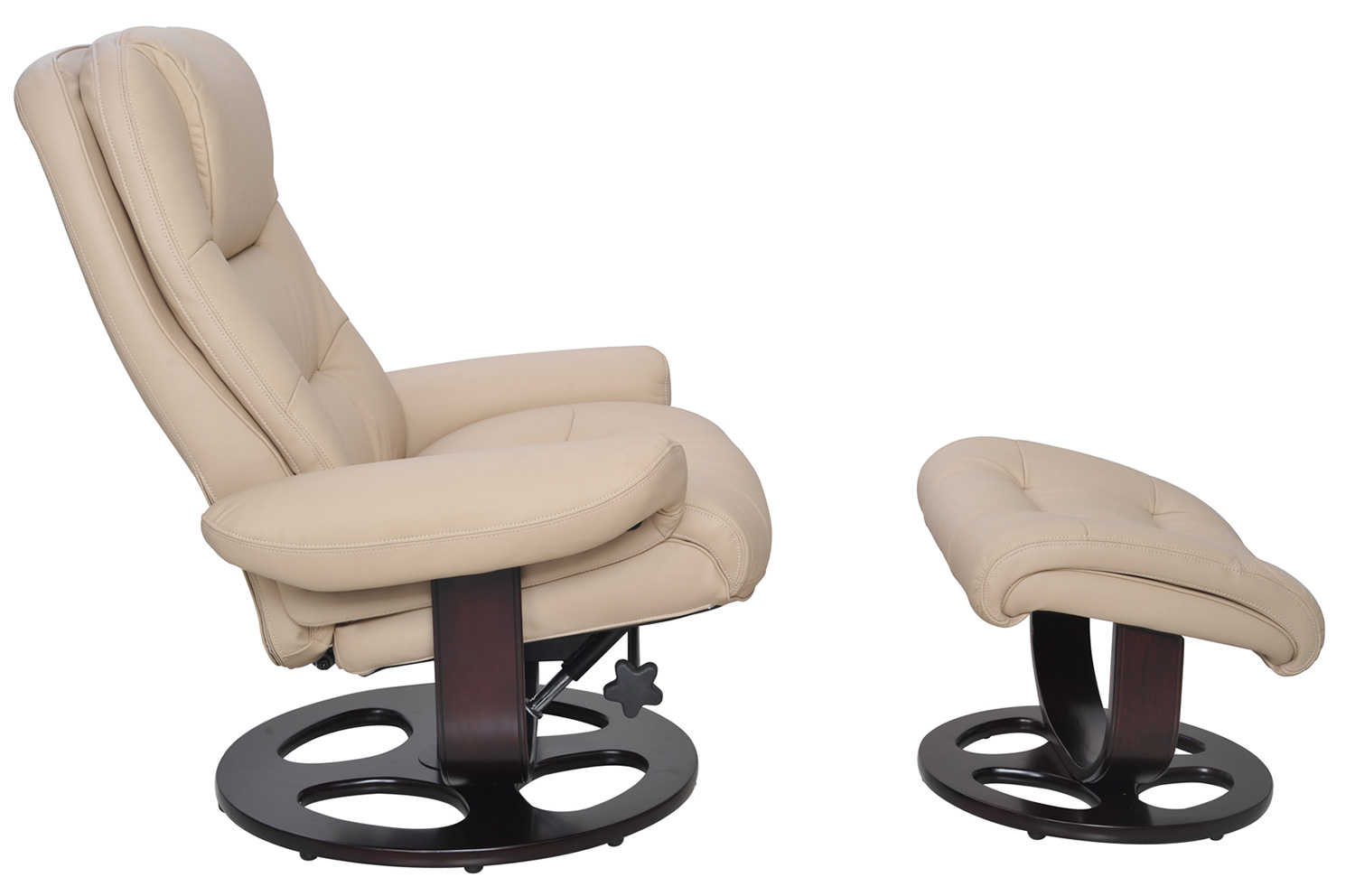 Barcalounger Jacque Pedestal Recliner Chair and Ottoman - Hilton Ivory/Leather Match