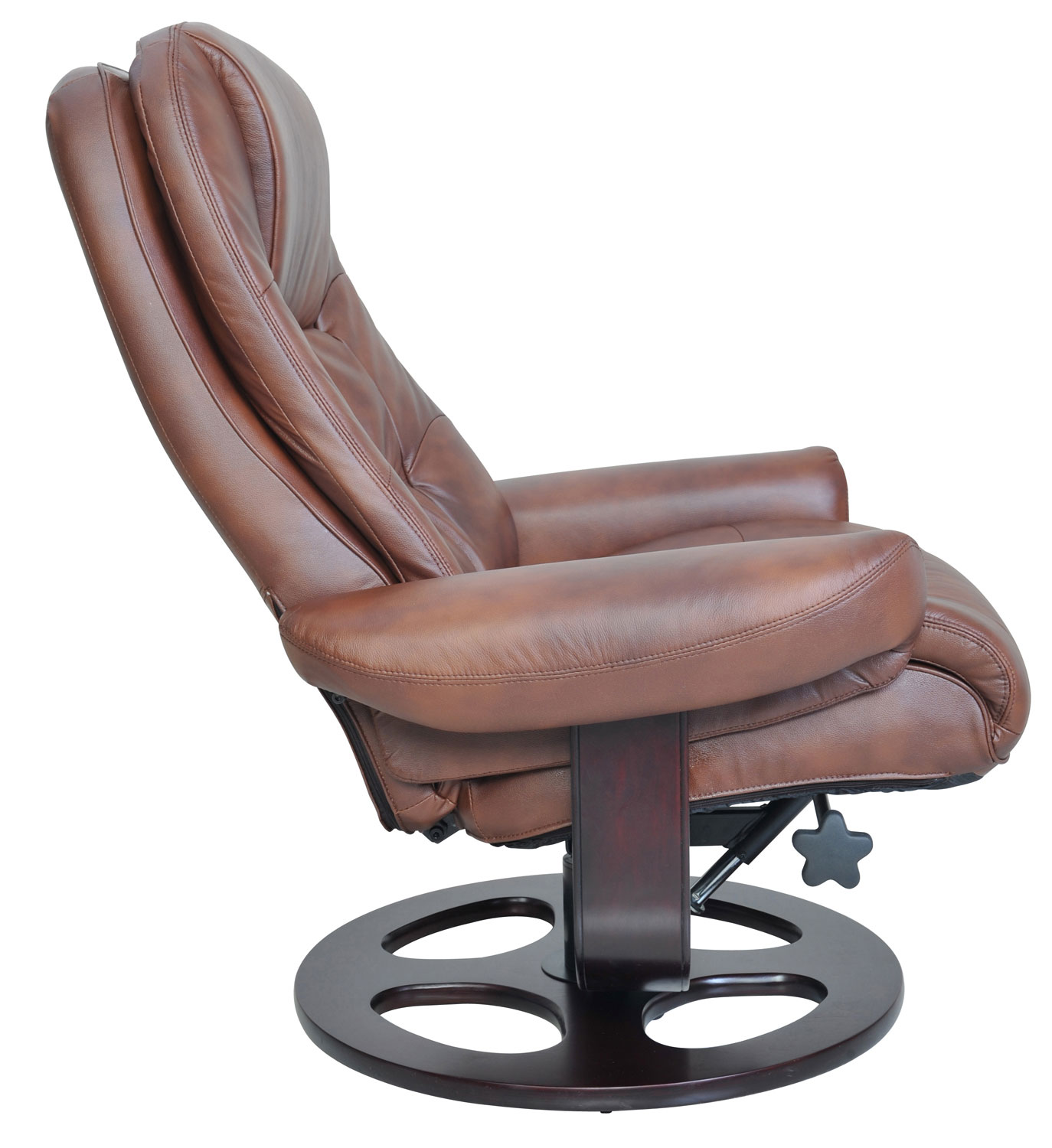Barcalounger Jacque Pedestal Recliner Chair and Ottoman - Hilton Whiskey/Leather Match