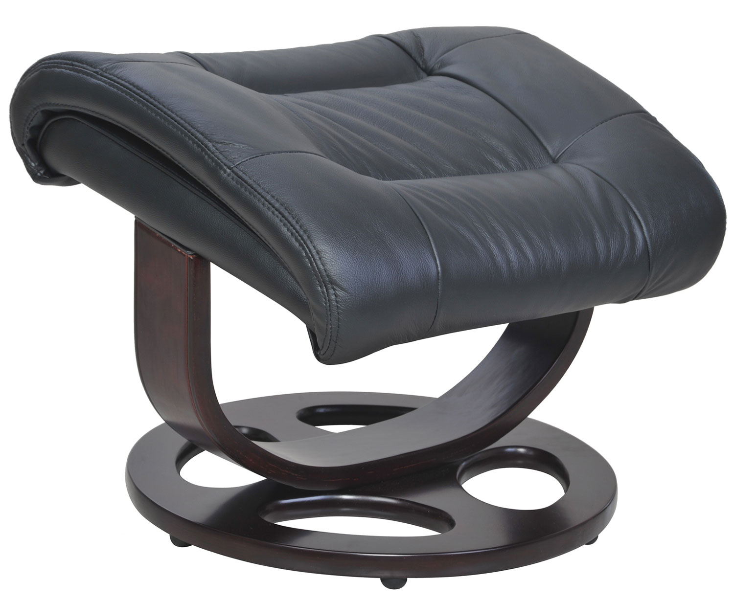 Barcalounger Jacque Pedestal Recliner Chair and Ottoman - Hilton Black/Leather Match