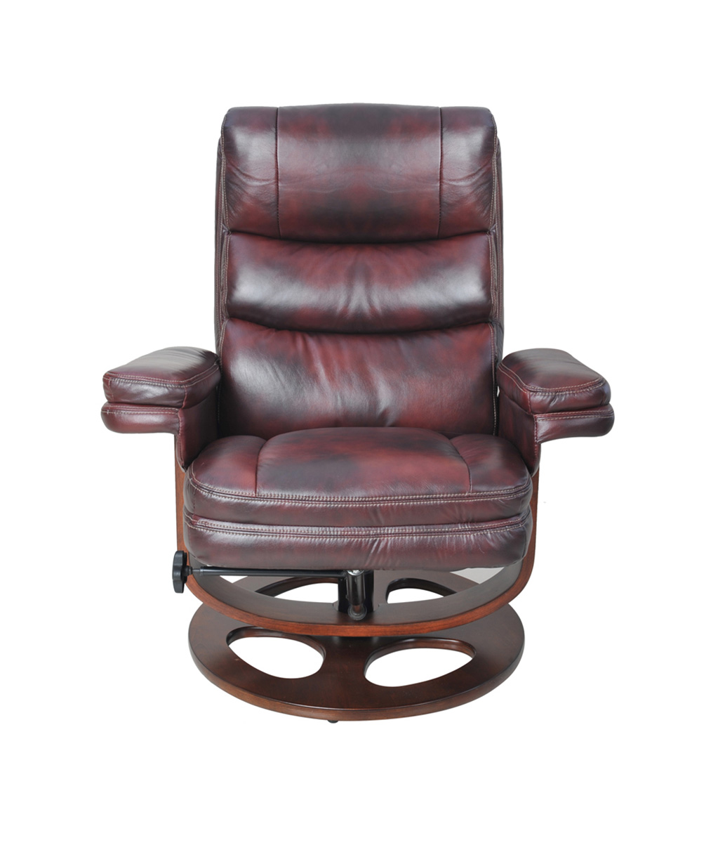 Barcalounger Bella Pedestal Recliner Chair and Ottoman - Plymouth Mahogany/Leather Match